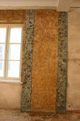 Krustpils pils mākslīgais marmors. A-siena restaurācijas procesā