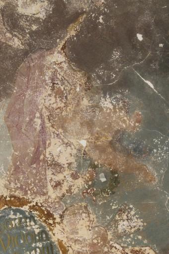 Rundāles pils hercoga bibliotēkas griestu gleznojuma fragments pēc attīrīšanas