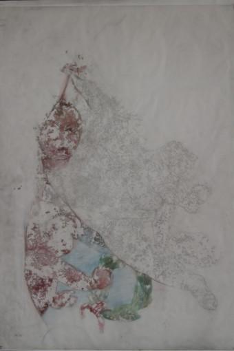 Rundāles pils hercoga bibliotēkas griestu gleznojuma fragmenta kopija